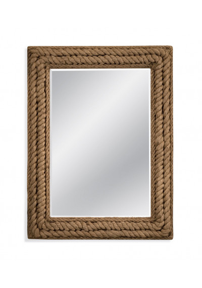 Nautical Square Rope Frame Beveled Wall Mirror