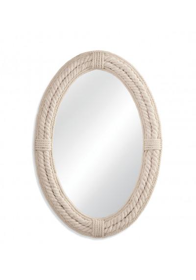 Nautical Oval White Jute Rope Frame Wall Mirror
