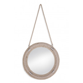 Nautical Round Light Rope Wall Mirror on Rope