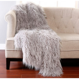 Shaggy Grey Faux Fur Throw 2 Sizes