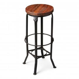 Dark Metal & Wood Seat Saloon Bar Stool