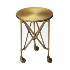 Antique Gold Metal Industrial Style Accent Side Table
