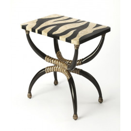 Zebra Pattern Top Side Accent Table