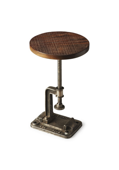 Industrial Adjustable Height Metal & Wood Accent Side Table
