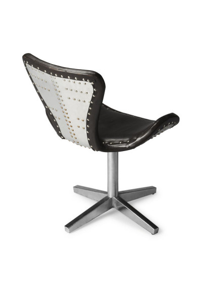 Silver Industrial Airplane Rivet Back Brown Leather Seat