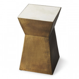 Bronze Rustic Geometric Base White Marble Top Accent Table