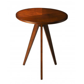 Cherry Wood Triangular 3 Leg Base Mid Century Modern Side Table