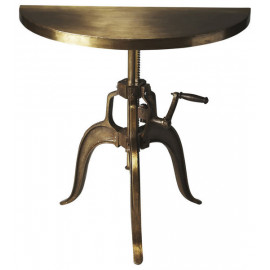 Industrial Antiqued Bronze Adjustable Hand Crank Hall Console Table