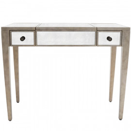 Silver Pewter Finish Mirrored Vanity Table Desk