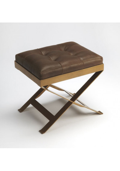 Chocolate Brown Leather & Brass X Frame Stool Footstool
