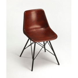 Brown Stitched Leather Mid Century Black Legs Dining Chair