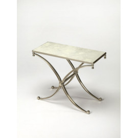 Silver Iron X Frame Base White Marble Top Rectangle Accent Table