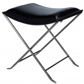 Black Stitched Leather & Silver Iron Stool Footstool