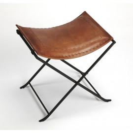 Warm Brown Leather & Black Iron Stool Footstool
