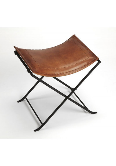 Warm Brown Leather & Black Iron Stool Footstool