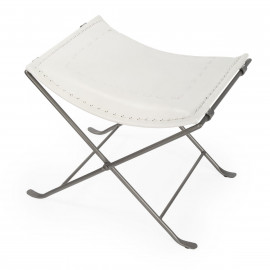 White Stitched Leather & Silver Iron Stool Footstool