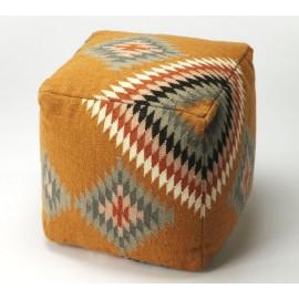 Native American Style Hopi Wool Ottoman Footstool Pouf