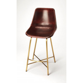Chocolate Brown Leather & Antique Gold Pipe Counter Bar Stool