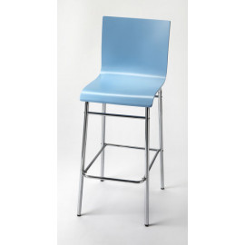 Aqua Blue & Chrome Mid Century Modern Bar Stool