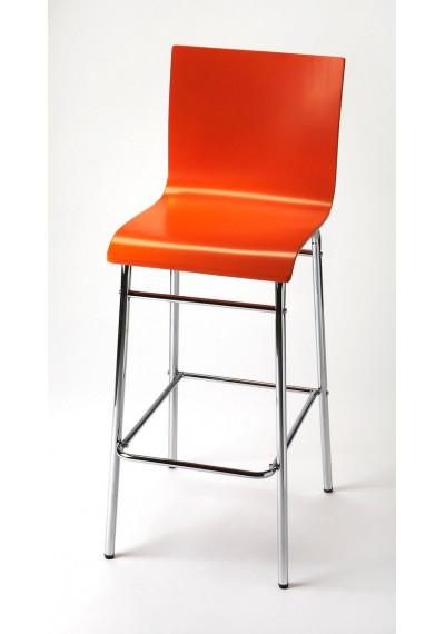 Burnt Orange & Chrome Mid Century Modern Bar Stool