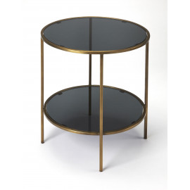 Black Glass Antique Gold Base Round Bottom Shelf Accent Table