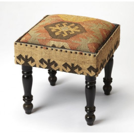 Southwestern Kilim Look Footstool Accent Side Table