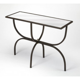 Black Iron Mirrored Glass Top Hall Console Table