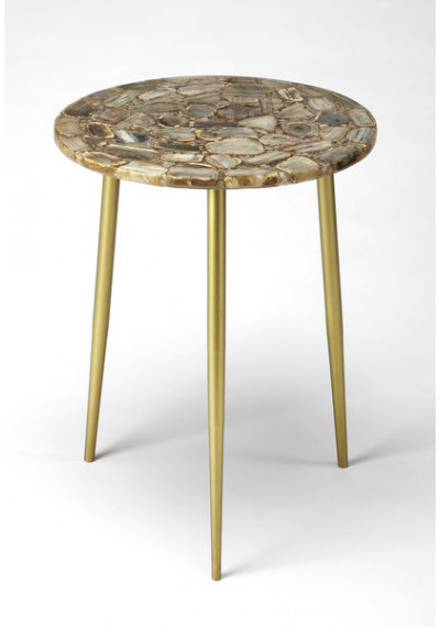 Gold Legs & Brown Grey Agate Round Top Accent Table