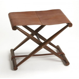 Warm Brown Leather & Wood X Frame Stool Footstool
