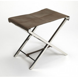 Chocolate Brown Leather & Stainless Steel X Frame Stool Footstool