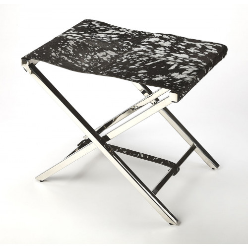 Black & Silver Finish Hair on Hide Leather Silver X Base Stool Footstool