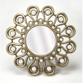 Silver Loopy Flower Design Wall Mirror