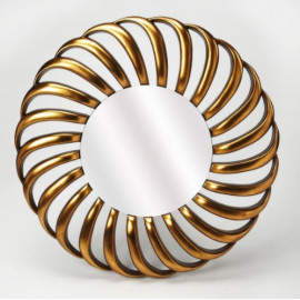 Gold Curved Design Round Wall Mirror