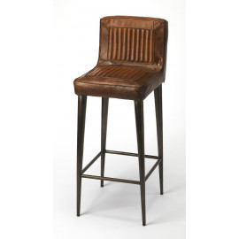 Brown Leather & Metal Aviator Style Backed Bar Stool