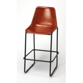 Cognac Brown Leather & Iron Pipe Bar Stool