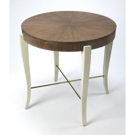 Cocoa Brown Top Light Legs Round Foyer Table