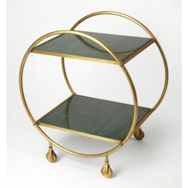 Gold Metal & Black Marble Circular Frame Bar Cart