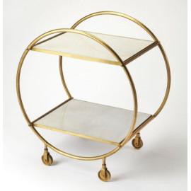 Gold Metal & Off White Marble Circular Frame Bar Cart