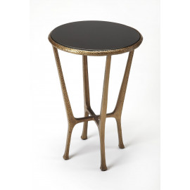 Black Stone Top Hammered Gold Base Accent Table