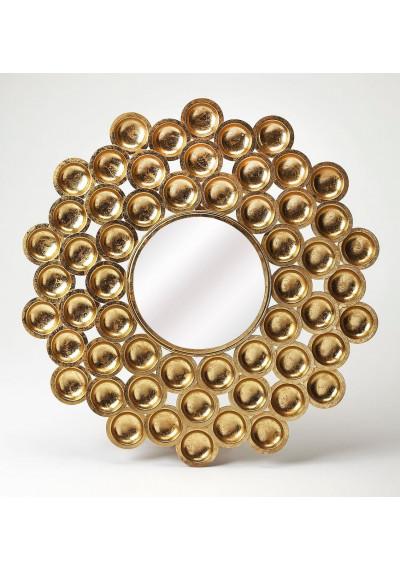 Gold Bubble Design Round Wall Mirror