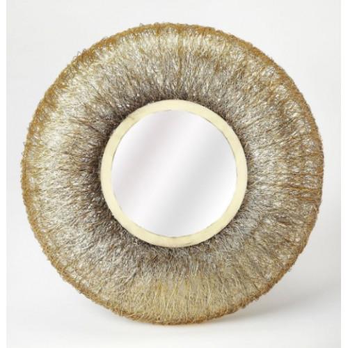 Gold Grass Round Wall Mirror