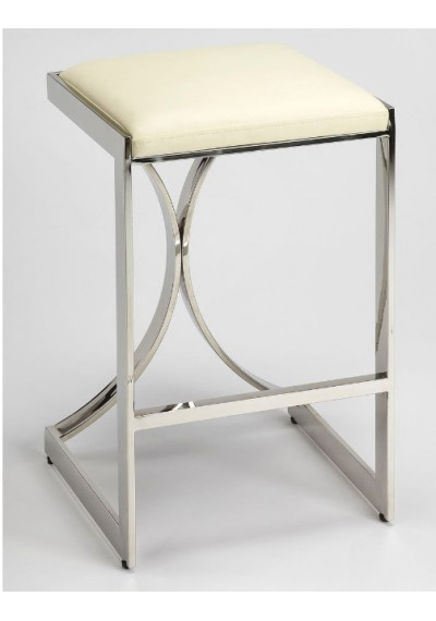 Silver Metal Cream Faux Leather Counter Bar Stool