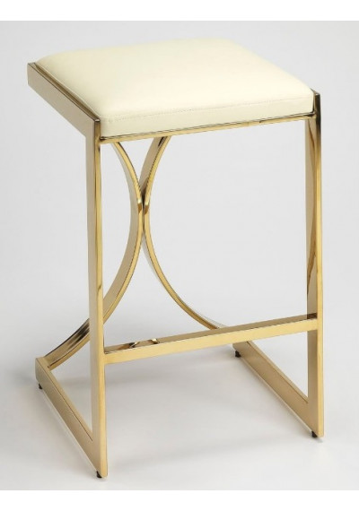 Gold Metal Cream Faux Leather Counter Bar Stool