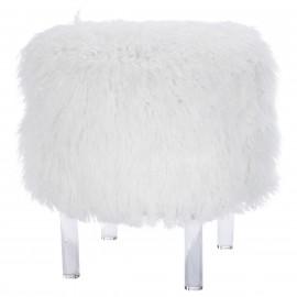 White Faux Fur Acrylic Leg Vanity Seat Stool Footstool
