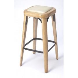 Natural Wood & Cream Seat Backless Stool