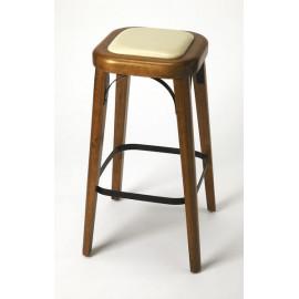 Medium Wood & Cream Seat Backless Stool