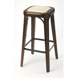 Coffee Wood & Cream Seat Backless Stool