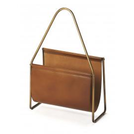 Soft Brown Leather & Brass Magazine Holder