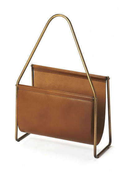 Soft Brown Leather & Brass Magazine Holder