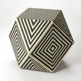 Black & White Marble Bone Inlay Geometric Cube Accent Table